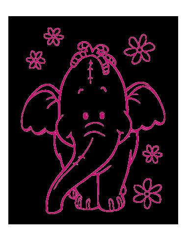 Elefante y flores